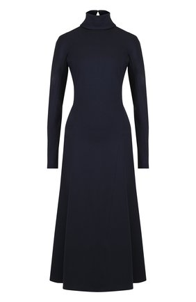Однотонное платье-миди с воротником-стойкой | Фото №1