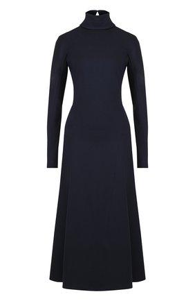 Однотонное платье-миди с воротником-стойкой Victoria Beckham темно-синее | Фото №1