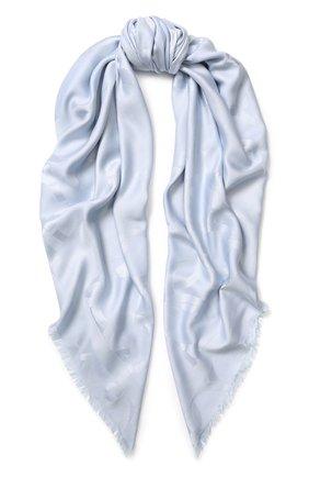 Шаль из смеси шелка и шерсти Salvatore Ferragamo голубого цвета | Фото №1