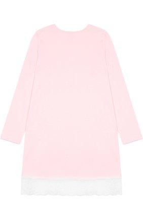Сорочка из смеси хлопка и вискозы с кружевной отделкой Sanetta розового цвета | Фото №1