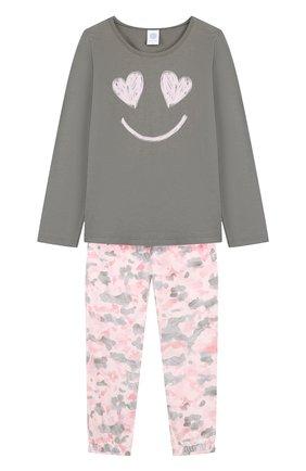 Хлопковая пижама Sanetta зеленого цвета | Фото №1