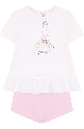 Хлопковая пижама Sanetta бежевого цвета | Фото №1
