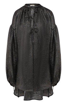 Удлиненная шелковая блуза свободного кроя   Фото №1