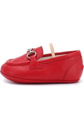 Детского кожаные мокасины с эластичной перемычкой GUCCI красного цвета, арт. 526103/BKPI0 | Фото 2