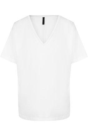 Однотонная хлопковая футболка с V-образным вырезом Ben Taverniti Unravel Project белая | Фото №1