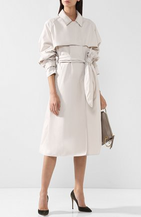 Однотонное хлопковое пальто с поясом Bottega Veneta белого цвета | Фото №1