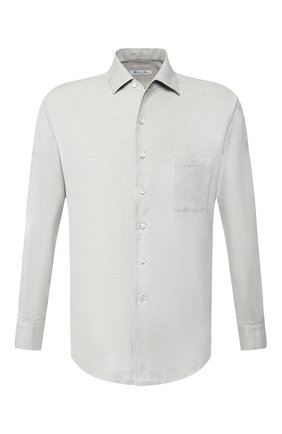 Мужская хлопковая рубашка LORO PIANA светло-серого цвета, арт. FAD3172 | Фото 1