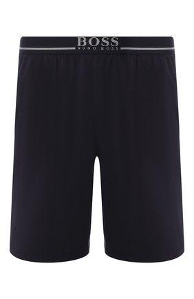 Мужские хлопковые шорты с поясом на резинке BOSS темно-синего цвета, арт. 50379158   Фото 1