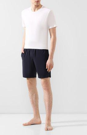 Мужские хлопковые шорты с поясом на резинке BOSS темно-синего цвета, арт. 50379158   Фото 2