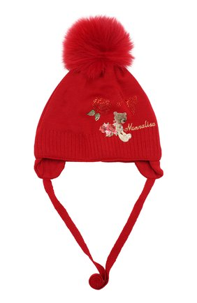 Вязаная шапка с меховым помпоном Monnalisa красного цвета | Фото №1