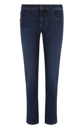 Укороченные джинсы с потертостями Jacob Cohen синие | Фото №1