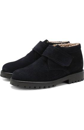 Детские замшевые ботинки с внутренней меховой отделкой Beberlis черного цвета | Фото №1