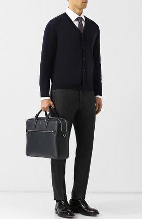Мужская кожаная сумка для ноутбука evoluzione с плечевым ремнем SERAPIAN темно-синего цвета, арт. SEV0EMLL5969M40D | Фото 2