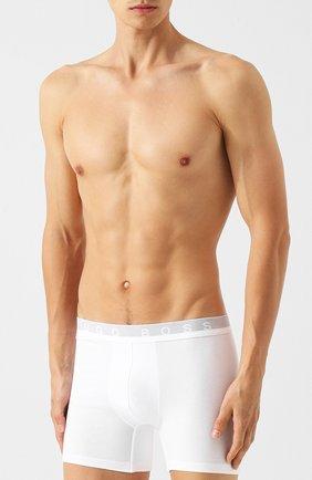 Мужские хлопковые трусы с широкой резинкой BOSS белого цвета, арт. 50377693   Фото 2