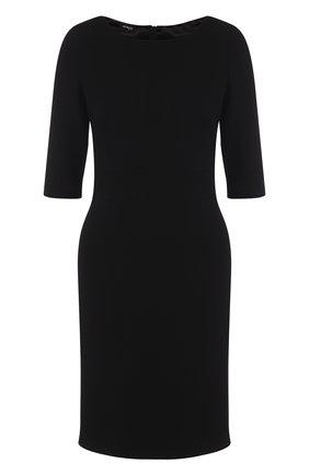 Приталенное шерстяное платье с укороченным рукавом   Фото №1