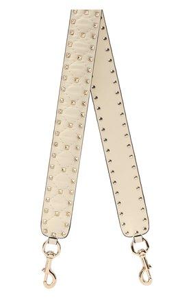 Женские кожаный ремень для сумки rockstud spike VALENTINO светло-бежевого цвета, арт. QW1P0P37/NAP   Фото 1