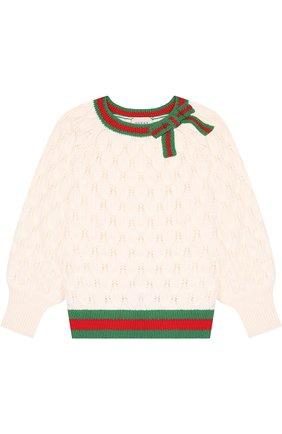 Шерстяной пуловер фактурной вязки с контрастной отделкой | Фото №1