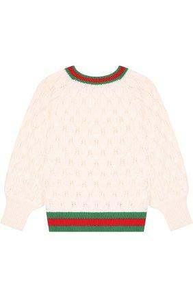 Детский шерстяной пуловер фактурной вязки с контрастной отделкой GUCCI бежевого цвета, арт. 519071/X1632 | Фото 2 (Материал внешний: Шерсть; Рукава: Длинные; Девочки Кросс-КТ: Пуловер-одежда)