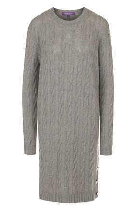 Женское вязаное кашемировое платье с круглым вырезом RALPH LAUREN серого цвета, арт. 290720002 | Фото 1