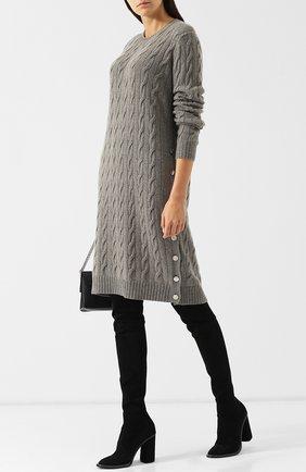 Женское вязаное кашемировое платье с круглым вырезом RALPH LAUREN серого цвета, арт. 290720002 | Фото 2