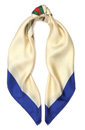 Шелковый платок с логотипом бренда   Фото №1