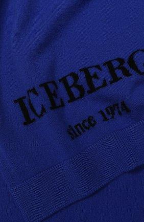 Кашемировый шарф с логотипом бренда Iceberg синий   Фото №1