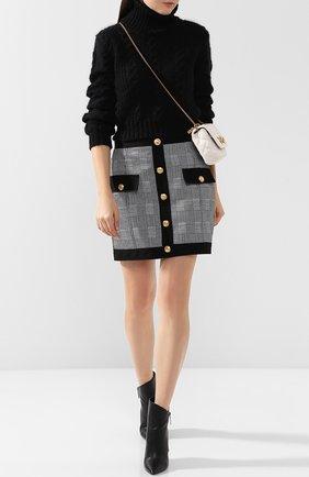 Хлопковая мини-юбка с контрастными пуговицами Balmain черно-белая   Фото №1