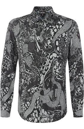Рубашка из вискозы с воротником кент Just Cavalli темно-серая | Фото №1