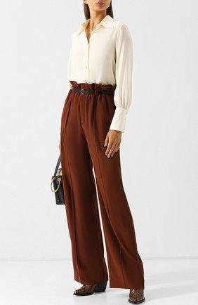 Однотонная шелковая блуза Chloé кремовая | Фото №2
