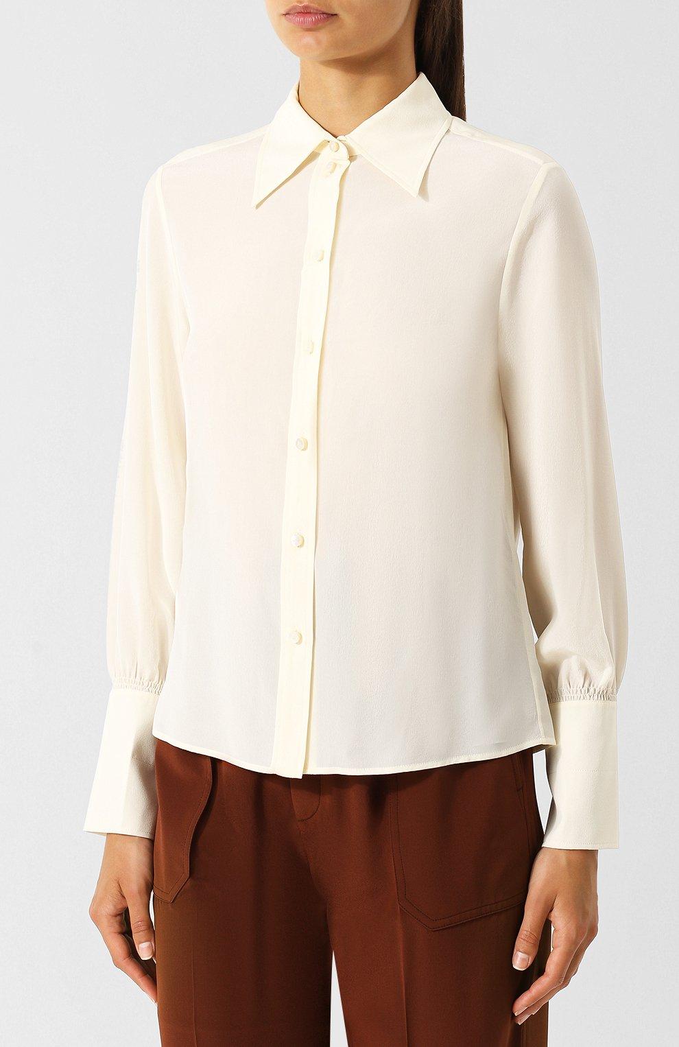 Однотонная шелковая блуза Chloé кремовая | Фото №3