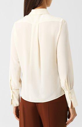 Однотонная шелковая блуза Chloé кремовая | Фото №4