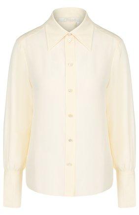 Женская однотонная шелковая блуза Chloé, цвет светло-розовый, арт. CHC18AHT19004 в ЦУМ   Фото №1