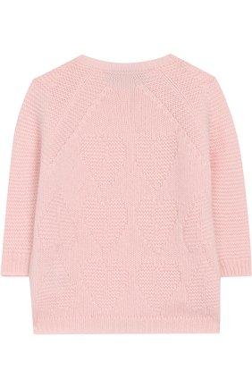 Детский кашемировый кардиган фактурной вязки LORO PIANA светло-розового цвета, арт. FAG3927 | Фото 2