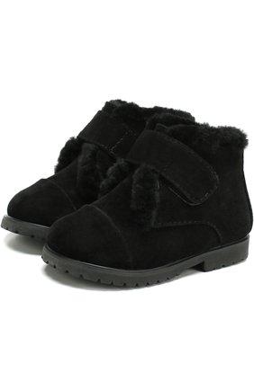 Замшевые ботинки с застежкой велькро и внутренней меховой отделкой   Фото №1