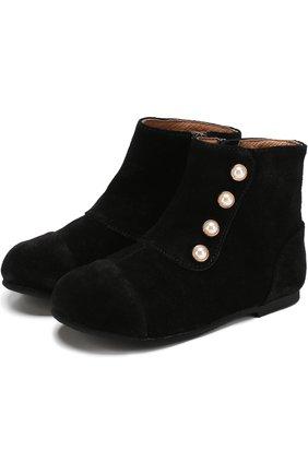 Замшевые ботинки с декором   Фото №1