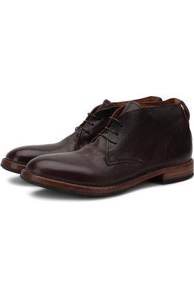 Кожаные ботинки на шнуровке Moma бордовые | Фото №1