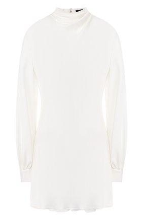 Удлиненная шелковая блуза с воротником-стойкой