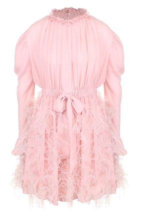 Шелковое мини-платье с перьевой отделкой и воротником-стойкой | Фото №1