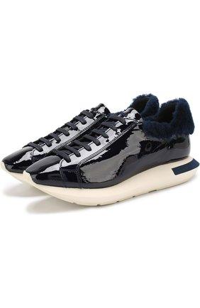 Лаковые кроссовки Hidra на шнуровке Manuel Barcelo темно-синие   Фото №1