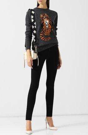 Шерстяной пуловер с круглым вырезом и вышитым принтом Markus Lupfer серый | Фото №1