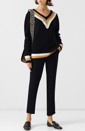 Шерстяной пуловер с V-образным вырезом и контрастной вышивкой Markus Lupfer разноцветный | Фото №1