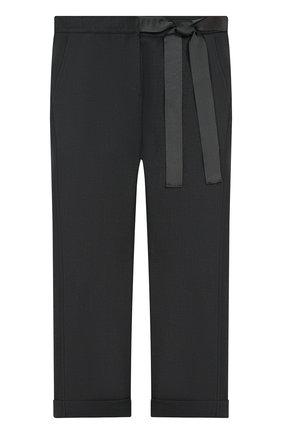 Детские брюки прямого кроя с бантом и отворотами Aletta темно-серого цвета   Фото №1