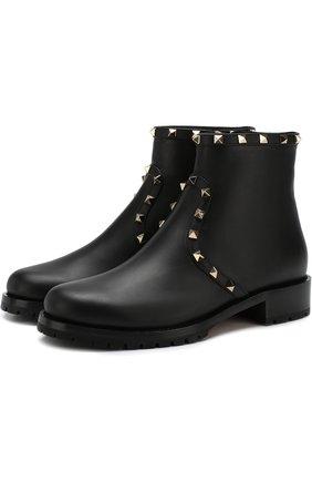 Женские кожаные ботинки valentino garavani rockstud с внутренней меховой отделкой VALENTINO черного цвета, арт. QW2S0I57/XHQ | Фото 1