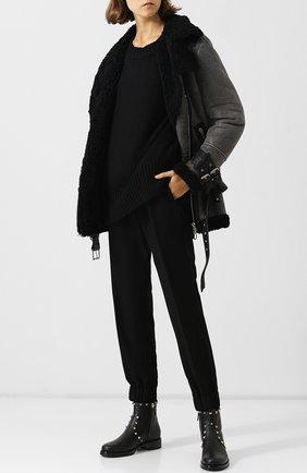 Женские кожаные ботинки valentino garavani rockstud с внутренней меховой отделкой VALENTINO черного цвета, арт. QW2S0I57/XHQ | Фото 2