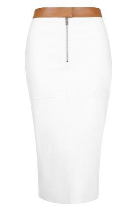 Кожаная юбка-карандаш с контрастным поясом и карманами Victoria Beckham черная | Фото №1