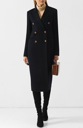 Двубортное кашемировое пальто прямого кроя Victoria Beckham темно-синего цвета | Фото №1