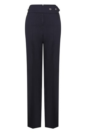 Шерстяные брюки со стрелками и завышенной талией Victoria Beckham темно-синие | Фото №1