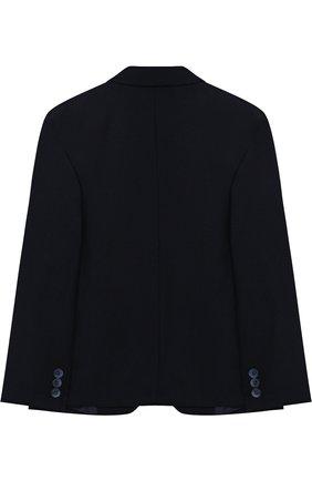 Детский однотонный пиджак на двух пуговицах Aletta темно-синего цвета   Фото №1