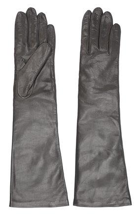 Удлиненные кожаные перчатки Sermoneta Gloves темно-серые   Фото №1