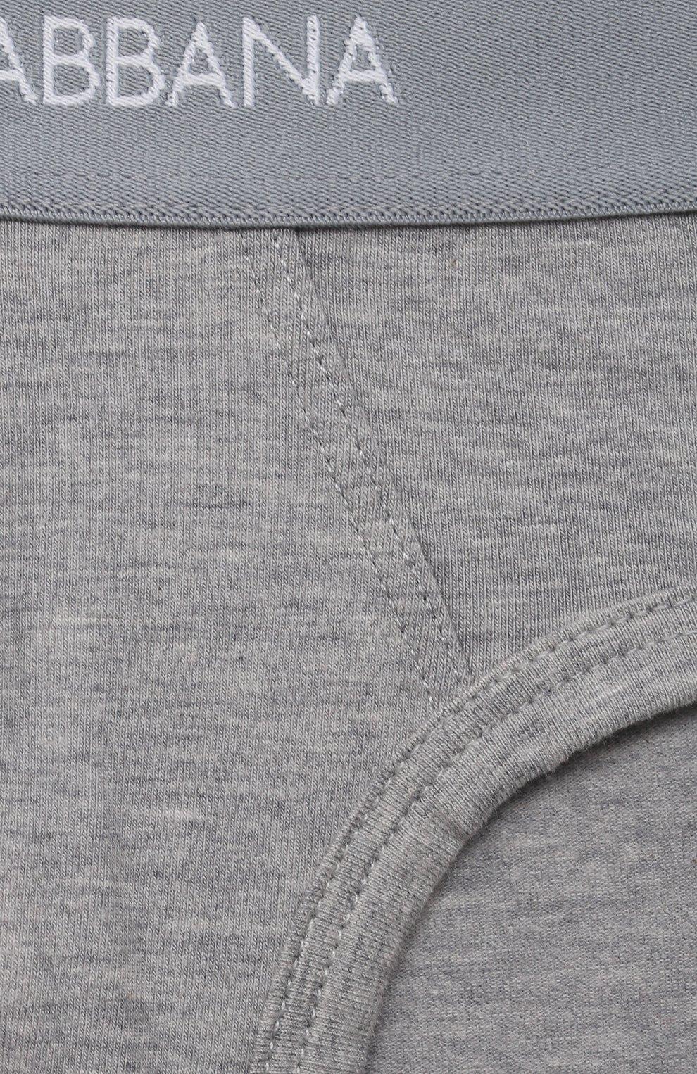 Комплект из двух хлопковых трусов Dolce & Gabbana серого цвета | Фото №4
